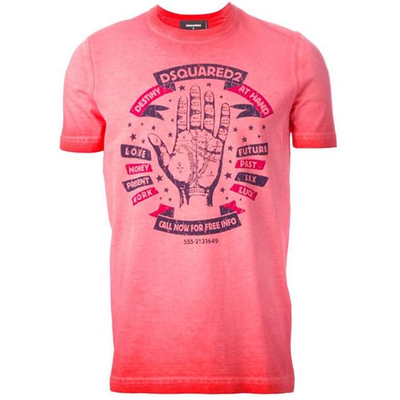 [당일]신상 디퀘 데스티니 핸드 프린팅 티셔츠 핑크 74GD0049